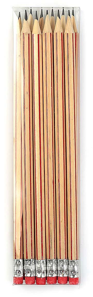 Calligrata Карандаш чернографитный Полоски с ластиком твердость HB цвет корпуса бежевый красный карандаш чернографитный с ластиком твердость нв цвет корпуса черный желтый