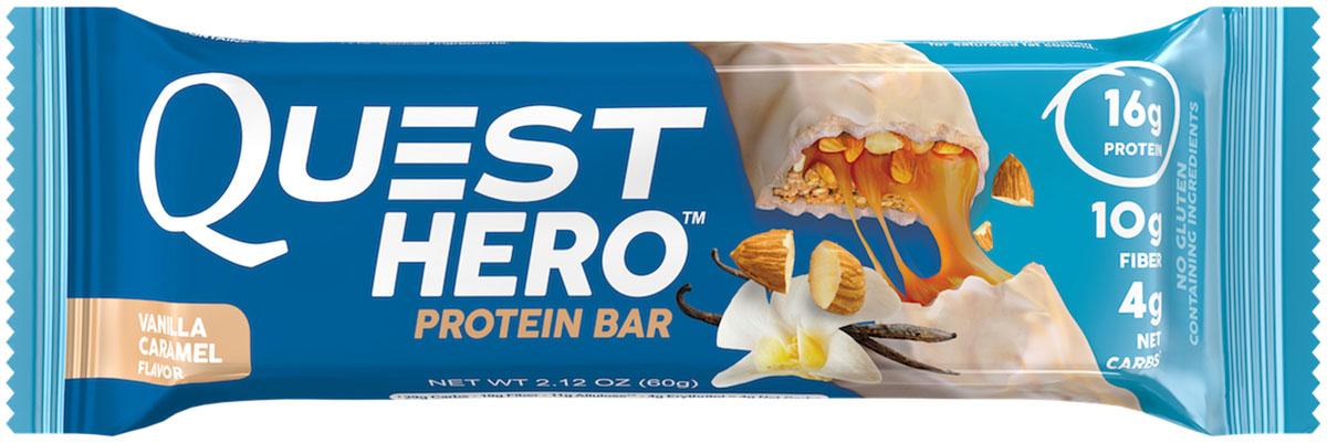 Батончик протеиновый Quest Nutrition Quest Hero Bar Vanilla Caramel, 60 гQUEST-HB1P-VACAПротеиновый батончик QUEST HEROНастоящая глазурь, вкусное тягучее покрытие и хрустящая основа. От протеиновых батончиков не ждут, что они будут настолько вкусными. QUEST HERO - новая ступенька в мире вкусовых ощущений! В одном батончике удалось уместить 15-17 г белка, при этом сохранив количество активных углеводов на уровне всего 4 грамм.HERO отличается от всего, что вы когда-либо пробовали. Хрустящая основа, невероятно вкусное тягучее покрытие и настоящая глазурь.Среди всего многообразия протеиновых батончиков появился новый ГЕРОЙ! Состав: Белковая смесь (изолят молочного белка, изолят сывороточного белка), растворимые волокна кукурузы (пребиотическая клетчатка), аллюлоза, пальмоядровое масло, эритритол, вода, сливочное масло, миндаль, натуральные ароматизаторы . Содержит менне 2%: морская соль, пищевая сода, пальмовое масло, целлюлозная камедь, ксантовая камедь, каррагенан, сукралоза, лецитин из подсолнечника. Содержит ингридиенты молочного происхождения и миндаль. Рекомендуем!