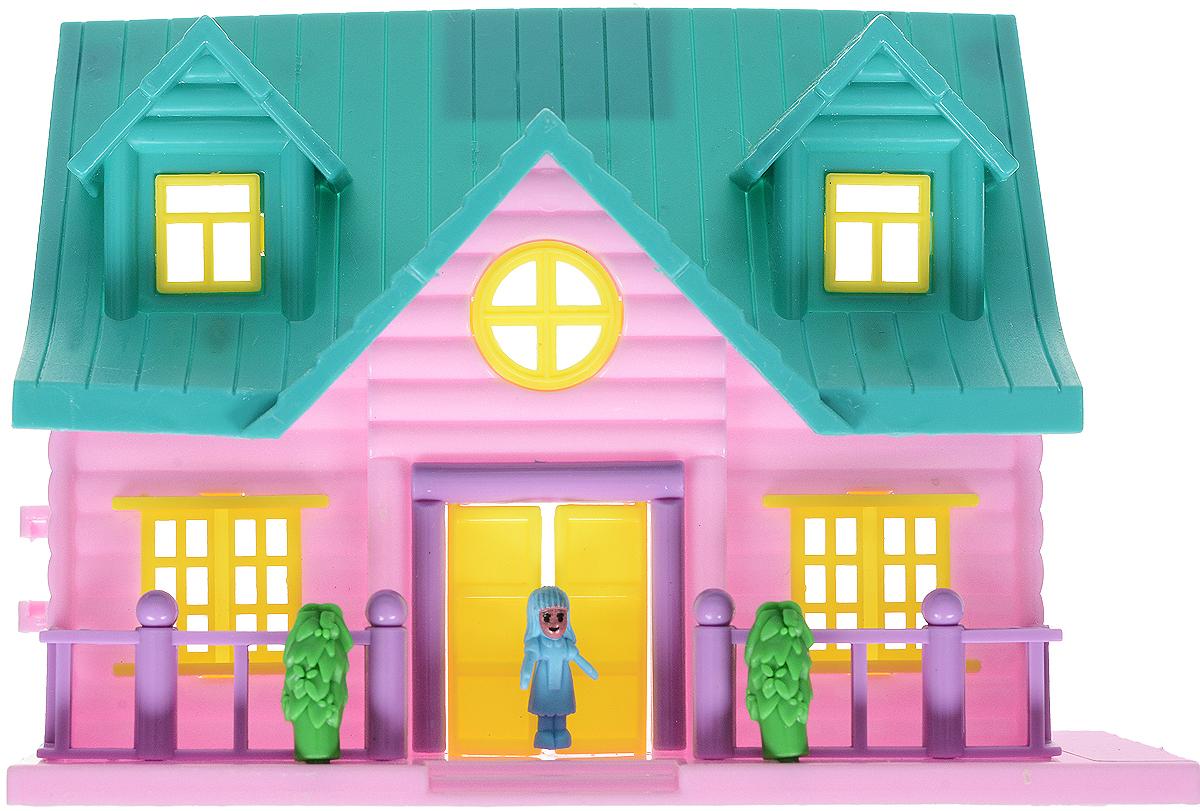 EstaBella Кукольный домик Солнечный городок улица Зеленая дом 4 с лестницей цвет зеленый сиреневый детские кухни estabella кофеварка