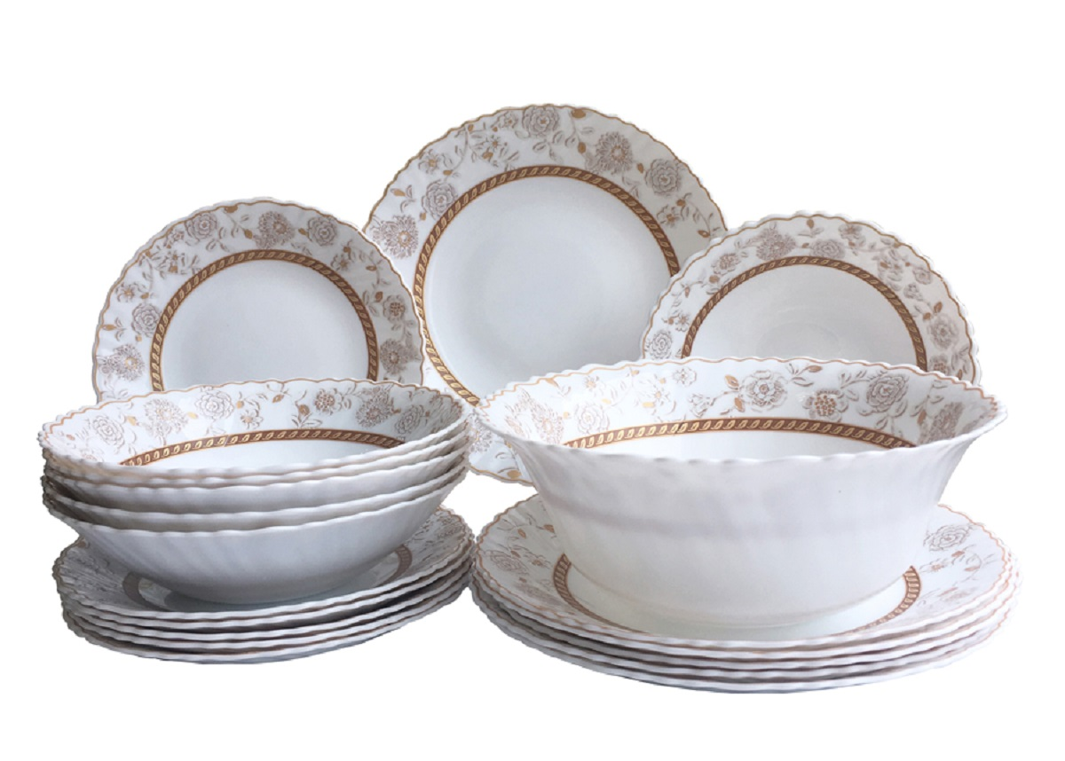 Сервиз столовый Chinbull Антураж, цвет: белый, золотой, 19 предметов тарелка обеденная chinbull нанси диаметр 24 см