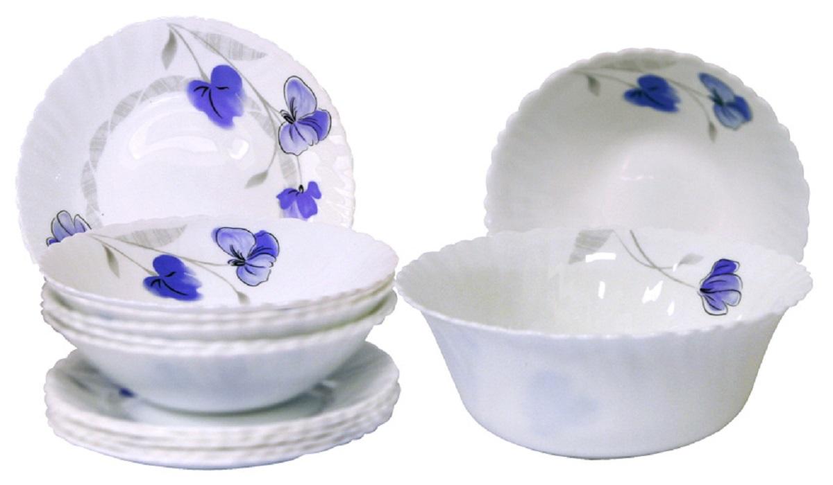 Сервиз столовый Chinbull Нанси, цвет: белый, синий, 13 предметов тарелка обеденная chinbull нанси диаметр 24 см