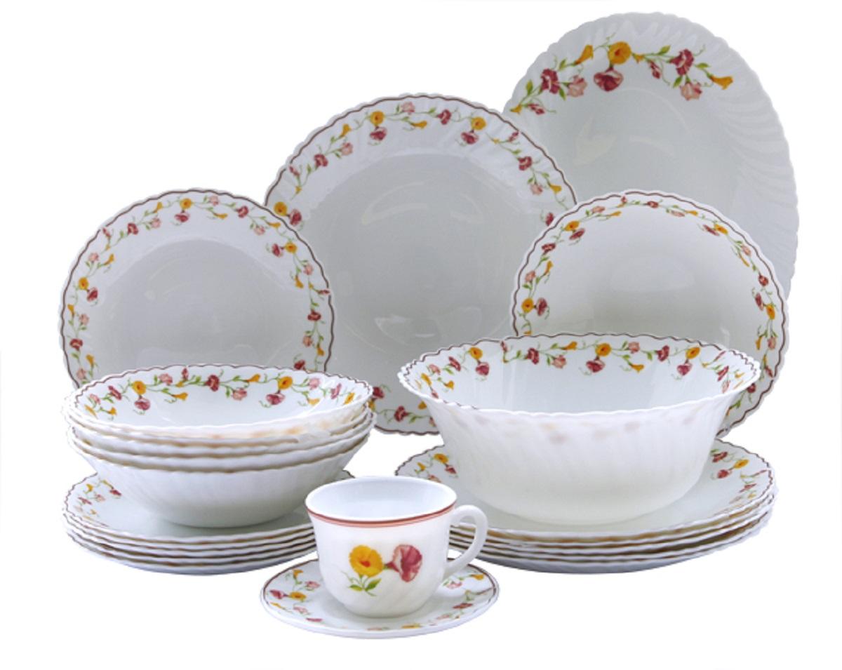 Сервиз столовый Chinbull Эльзас, цвет: белый, красный, 32 предмета тарелка обеденная chinbull нанси диаметр 24 см