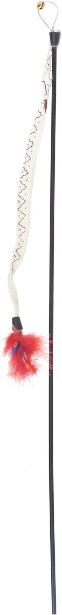 Игрушка-дразнилка для кошек GLG Хвост с перьями, длина 60 см игрушка дразнилка для кошек glg боа с бубенчиками цвет зеленый длина 60 см