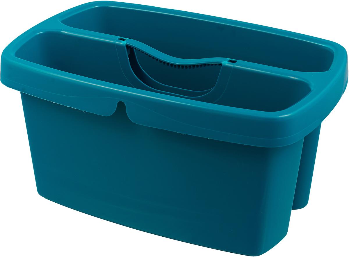 Ведро для мытья окон Leifheit Cleaning, двухкамерное, цвет: бирюзовый ведро универсальное leifheit combi 12 л