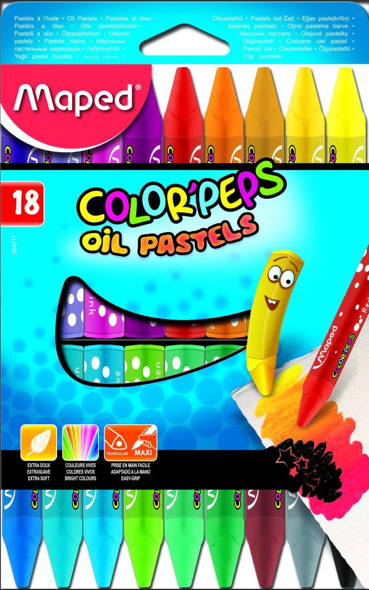 Maped Краска-пастель масляная 18 цветов мелки гелевые 6цв maped мапед color peps в пластиковой коробке