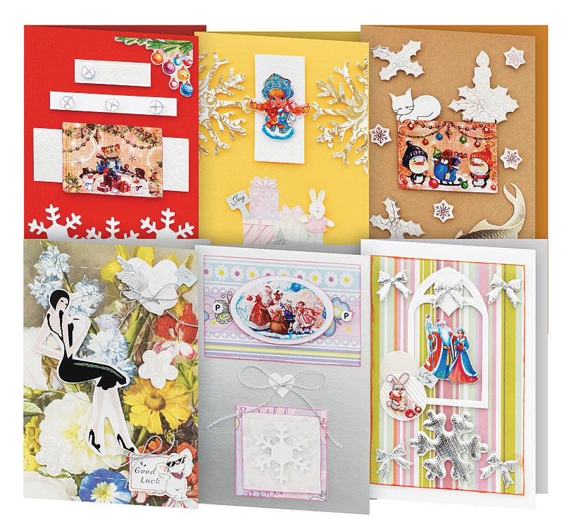 Набор для создания открыток Белоснежка Снежинки, 6 шт набор для создания открыток белоснежка атласные ленты 3 шт