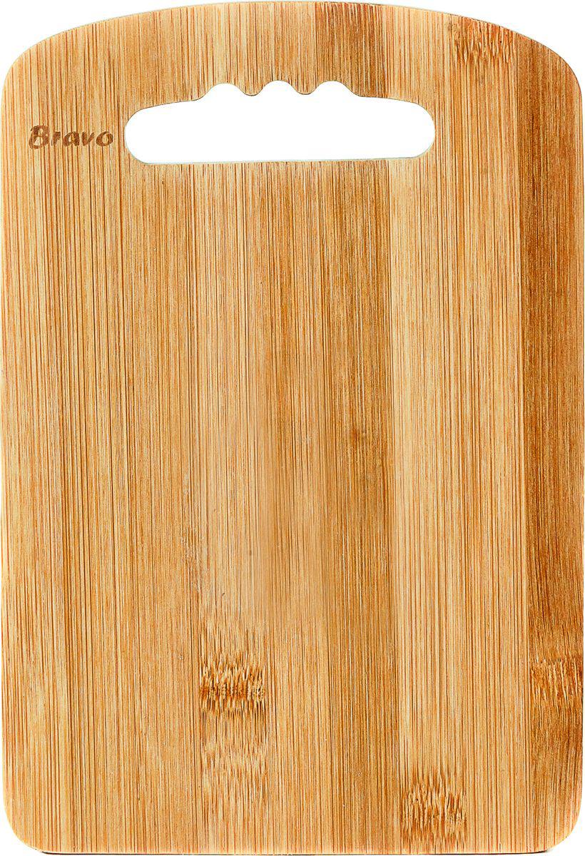 Доска разделочная Bravo, с ручкой, цвет: коричневый, бежевый, 22 х 15 х 1 см доска разделочная для пиццы америка цвет коричневый 32 х 32 х 1 5 см