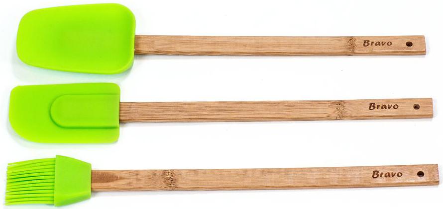 Набор кухонных принадлежностей Bravo, цвет: бежевый, зеленый, 3 предмета. 166166Набор лопаток и кисточки силиконовых с бамбуковыми ручками, 30 см.