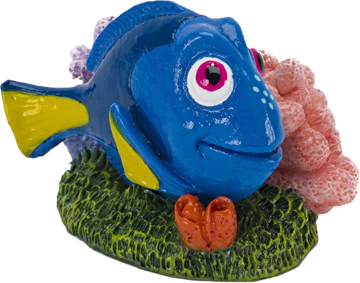 Грот для аквариума Penn-Plax Голубой хирург Дори, 3,8 х 4,5 х 5,7 см грот для аквариума penn plax мистер крабс 6 х 6 х 6 см