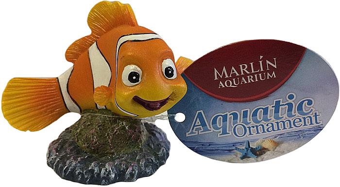 Грот для аквариума Meijing Aquarium Рыбка Немо, 9 х 6,5 х 8 см декорация для аквариума meijing aquarium лягушонок большой 12 х 10 х 9 5 см