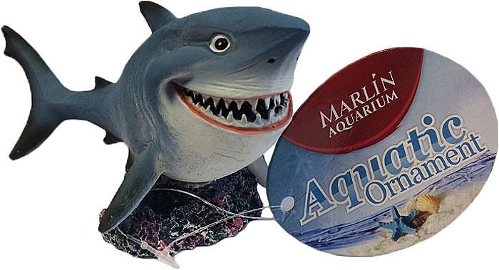 Декорация для аквариума Meijing Aquarium Улыбающаяся акула, 14,2 х 6,7 х 7,4 см декорация для аквариума meijing aquarium парящие камни покрытые мхом 201643a