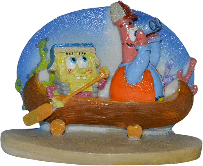 Декорация для аквариума Penn-Plax Губка Боб и Патрик в каноэ, 7 см