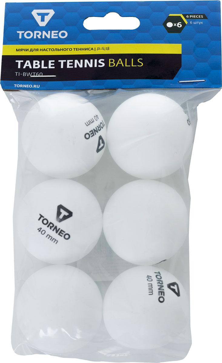 Набор мячей для настольного тенниса Torneo, цвет: белый, 6 шт