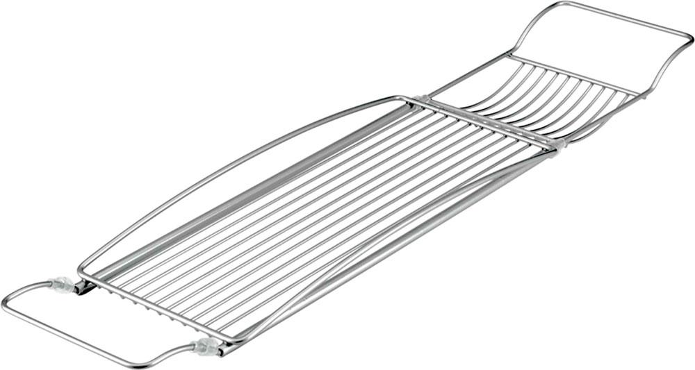 "Полка на ванну Metaltex ""Onda"", цвет: серый, 67/88 х 17 см"