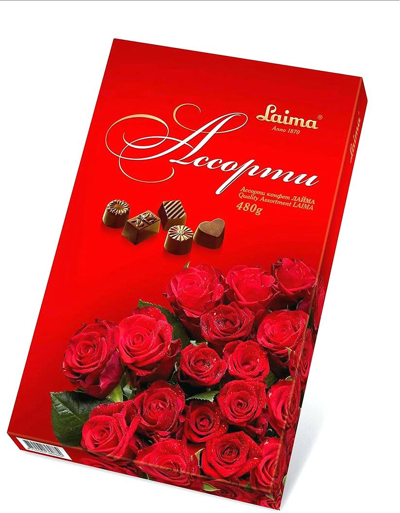 Laima Красные розы Ассорти шоколадных конфет, 480 г 51 kerastase fibre architecte