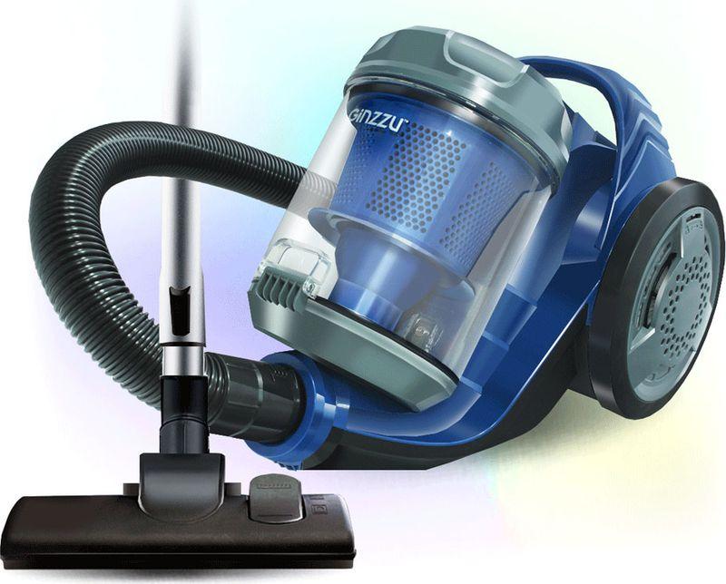 Пылесос Ginzzu VS423, серый, синий пылесос ginzzu vs429 1600вт серый синий