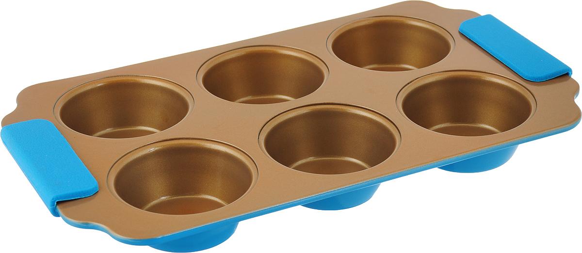 Фото - Форма для выпечки кексов Travola, с силиконовыми ручками, 6 ячеек, цвет: золотистый, голубой, 30,5 x 17,8 x 3 см. KCM9386H форма для запекания прямоугольная диаметр 7 2 см 6 ячеек iud250 6