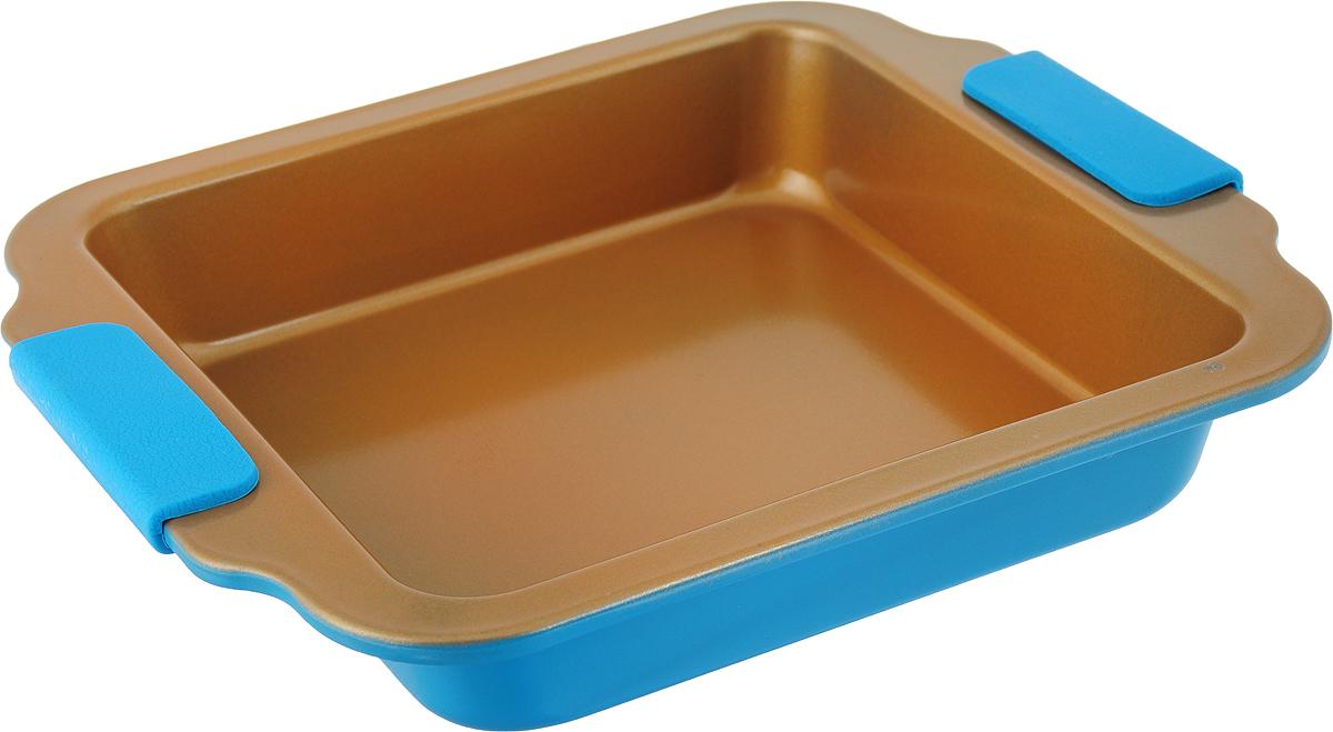 """Форма для выпечки """"Travola"""", с силиконовыми ручками, цвет: золотистый, голубой, 27 х 23,2 х 4,5 см. KCM9184H"""