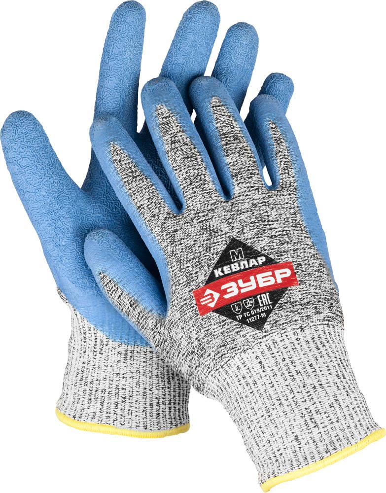 Перчатки для защиты от порезов ЗУБР, с рельефным латексным покрытием. Размер L (9)62079 (11277-L)Перчатки ЗУБР предназначены для работ со стеклом, абразивами, колющими и режущими материалами. Изготовлены с применением волокна Кевлар, чем обеспечивается максимальная стойкость к порезам. Рельефное покрытие позволяет работать со скользкими и мокрыми предметами. Выполнены с применением технологии бесшовной вязки, что создает повышенный комфорт при работе. Дышащий материал перчатки позволяет работать в них не снимая длительное время. Размер: L. Рекомендуем!