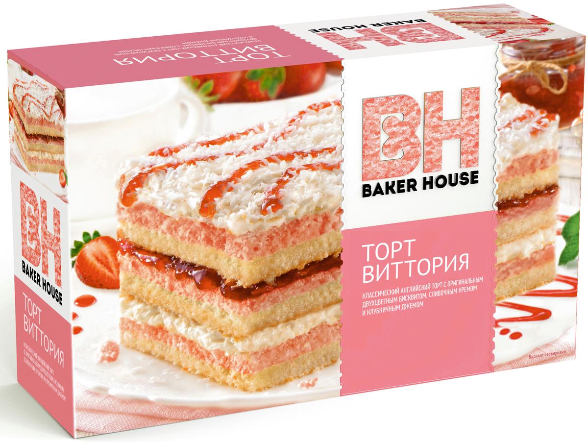 Baker House Виттория торт клубничный, 350 г пудовъ торт брауни 350 г