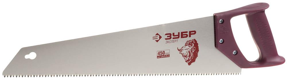Ножовка по дереву ЗУБР Эксперт, прямой крупный закаленный зуб, шаг зуба 5 мм, 450 мм ножовка по дереву stanley 450 мм крупный зуб