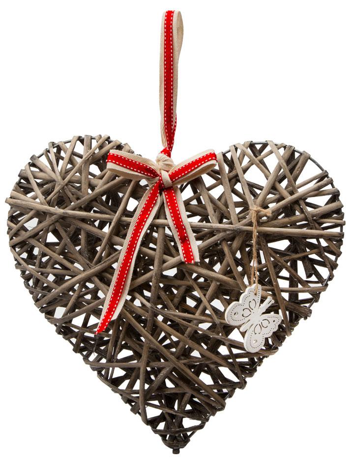 Украшение подвесное Engard Сердце, цвет: коричневый, 35 х 35 х 6 см украшение декоративное engard птичка с колокольчиком цвет зеленый 44 х 10 см