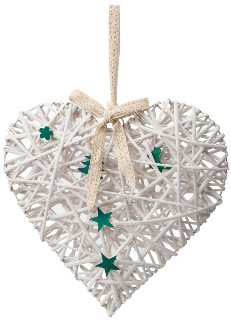 Украшение подвесное Engard Сердце, цвет: белый, 42 х 40 х 7 см украшение декоративное engard птичка с колокольчиком цвет зеленый 44 х 10 см