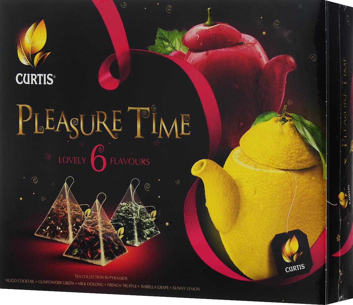 Curtis Pleasure Time желтый , розовый, чайное арома-ассорти в пирамидках, 53 г недорго, оригинальная цена