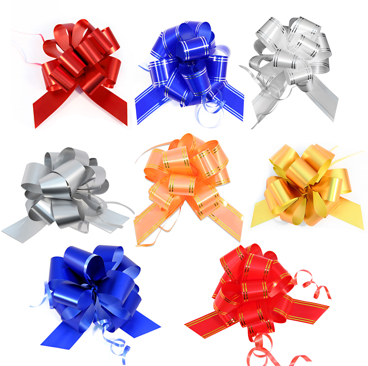 Бант упаковочный Veld-Co Шар, цвет: мультиколор, 3 х 100 см, 10 шт. 42378 набор подарочных коробок veld co цветочная абстракция кубы 3 шт 53452