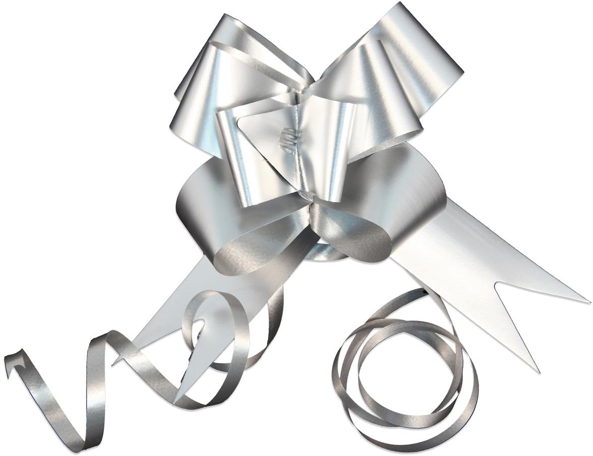 Набор упаковочных бантиков Veld-Co Бабочка, цвет: серебристый, 3 х 50 см, 10 шт коробка подарочная veld co giftbox трансформер разноцветные горошки цвет белый 10 3 х 10 3 х 9 8 см