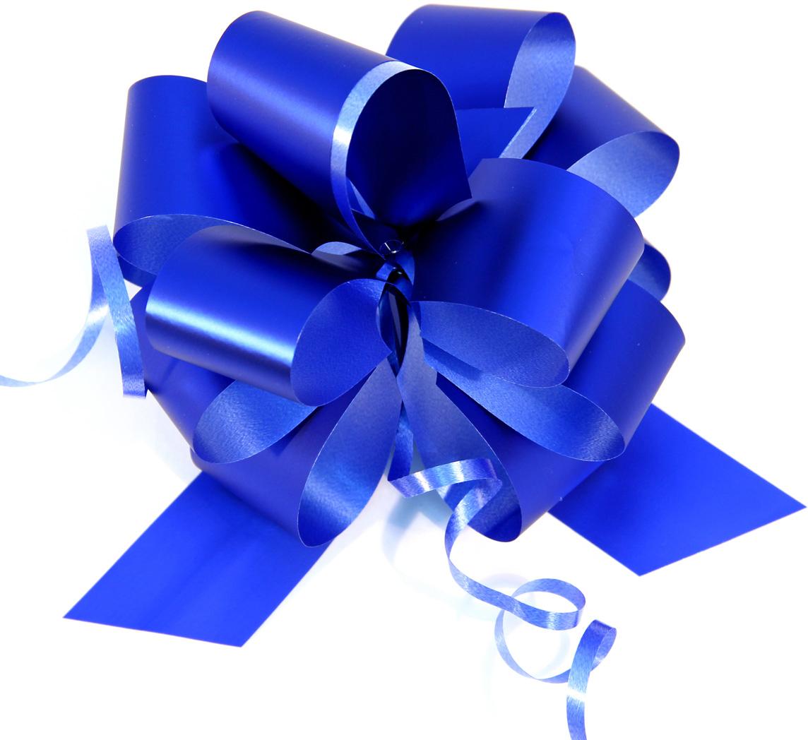 Бант упаковочный Veld-Co Шар, цвет: синий, 3 х 100 см, 10 шт набор подарочных коробок veld co цветочная абстракция кубы 3 шт 53452