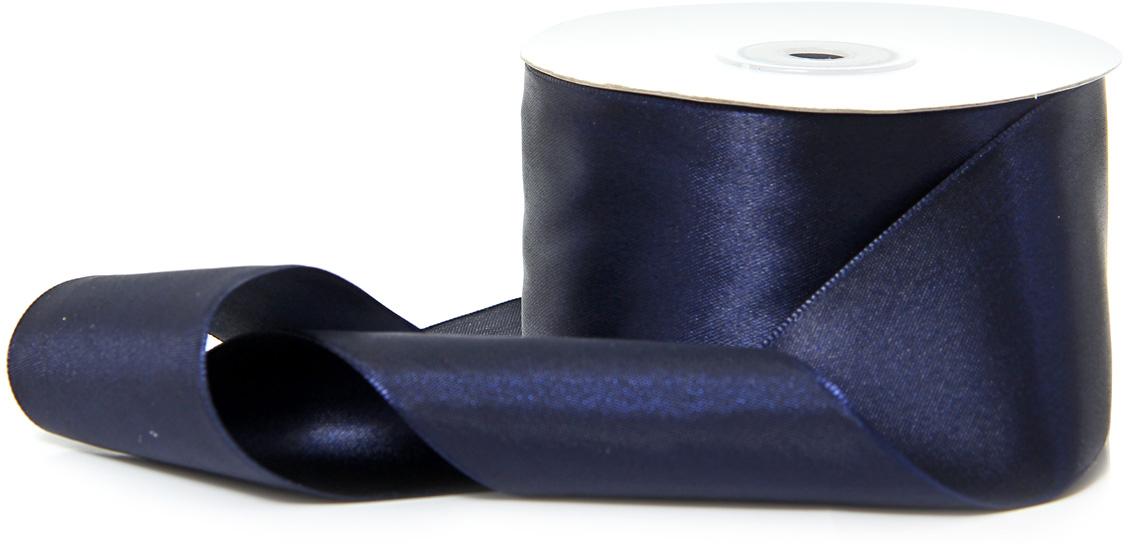 Лента декоративная Veld-Co, атласная, цвет: темно-синий, 5 см х 30 м набор подарочных коробок veld co часы и ромбы кубы большие 5 шт