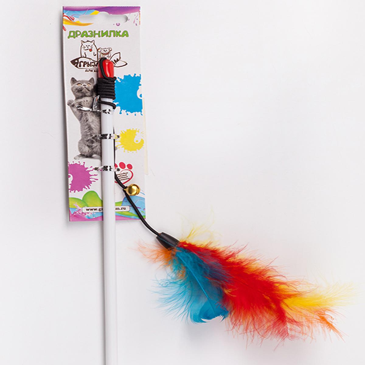 Дразнилка-удочка для кошки Грызлик Ам Марабу с перьями, длина палочки 55 см дразнилка удочка для кошки грызлик ам шарик eco с перьями длина палочки 40 см