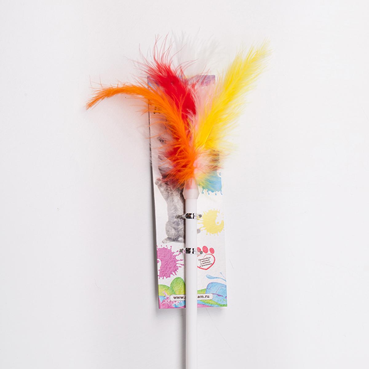 Дразнилка-удочка для кошки Грызлик Ам Пушистый хвост, длина палочки 55 см дразнилка удочка для кошки грызлик ам шарик eco с перьями длина палочки 40 см