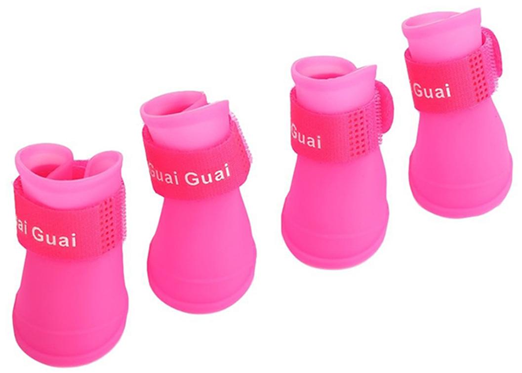 """Ботинки для собак """"Грызлик Ам"""", цвет: розовый. Размер S (4,3 х 3,3 см)"""