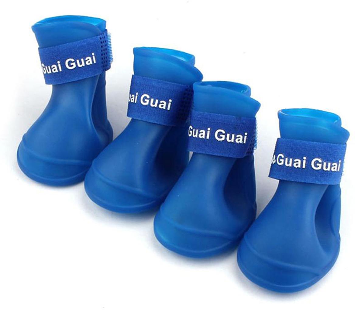 "Ботинки для собак ""Грызлик Ам"", цвет: синий. Размер S (4,3 х 3,3 см)"