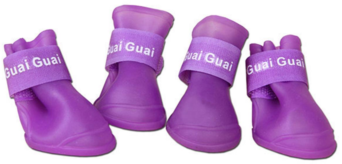 """Ботинки для собак """"Грызлик Ам"""", цвет: сиреневый. Размер L (5,7 х 4,7 см)"""