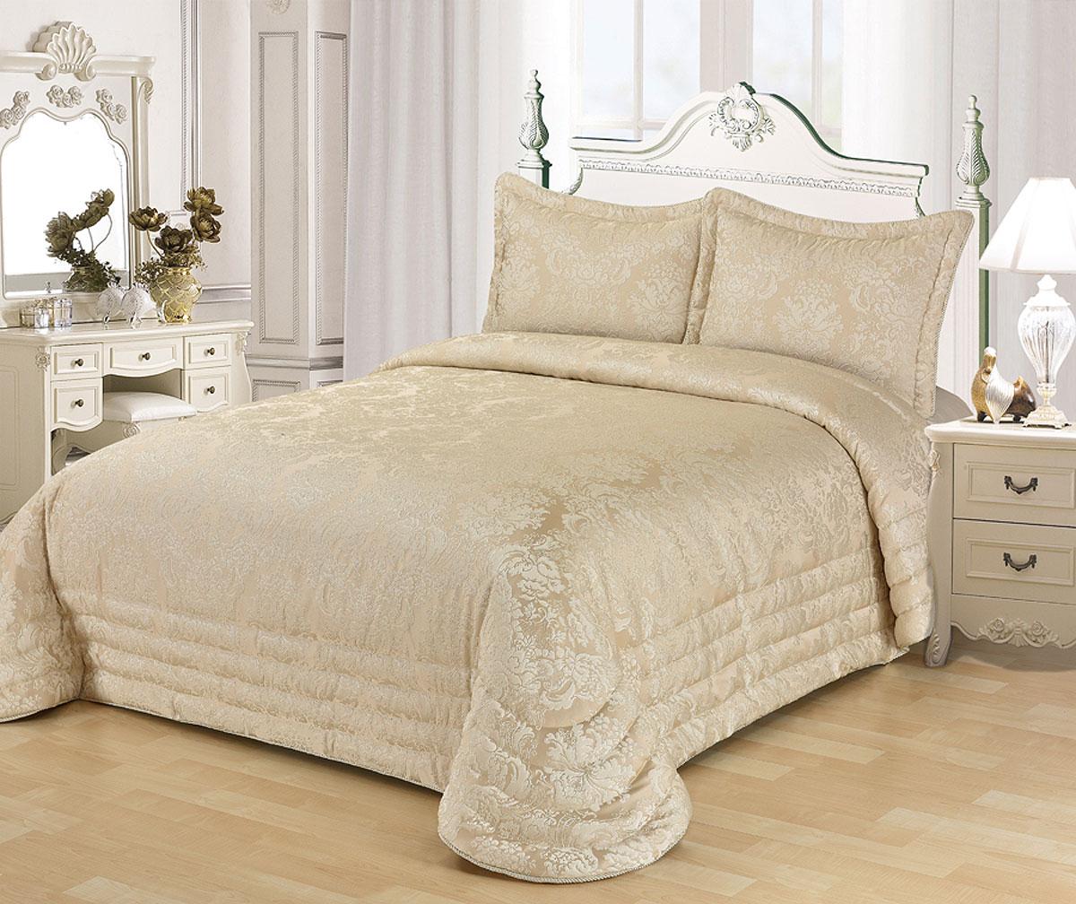 "Комплект для спальни Karna ""Evony"", жаккард, покрывало 240 х 260 см, 2 наволочки 50 х 70 см, цвет: бежевый, 3 предмета"