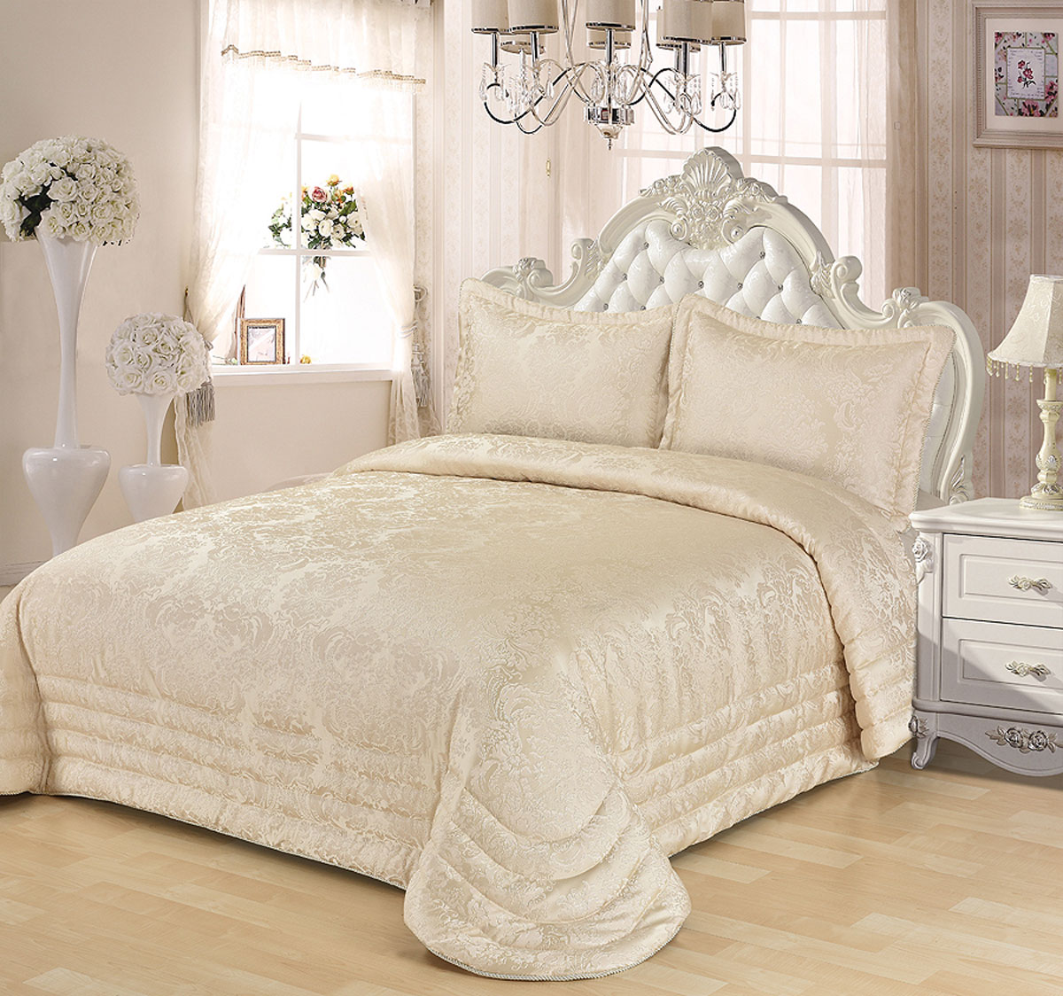 """Комплект для спальни Karna """"Evony"""", жаккард, покрывало 240 х 260 см, 2 наволочки 50 х 70 см, цвет: кремовый, 3 предмета"""