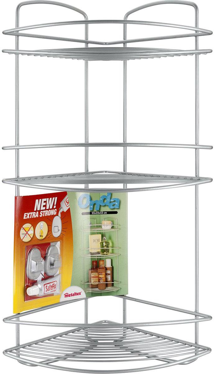Полка Metaltex Onda. Safe-Fix, 3-уровневая, угловая, цвет: серый, 22 х 22 х 53 см крючки набор 2 шт и клей metaltex серый
