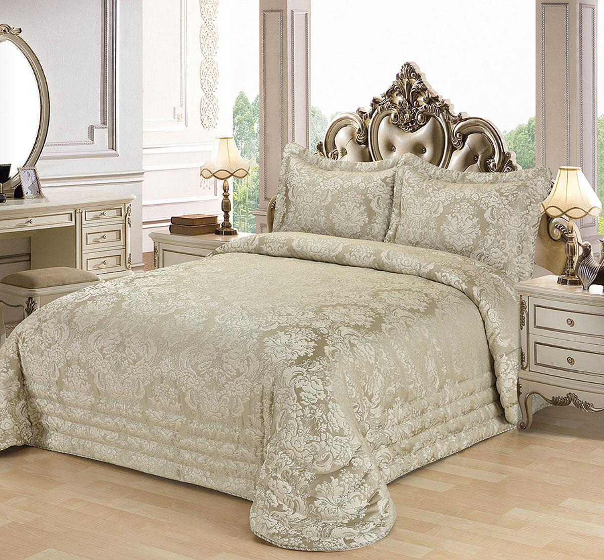 """Комплект для спальни Karna """"Evony"""", жаккард, покрывало 240 х 260 см, 2 наволочки 50 х 70 см, цвет: оливковый, 3 предмета"""