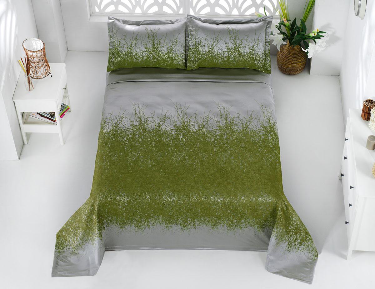 """Комплект для спальни Karna """"Florina"""", жаккард, покрывало 260 х 260 см, 2 наволочки 60 х 80 см, цвет: зеленый, 3 предмета"""