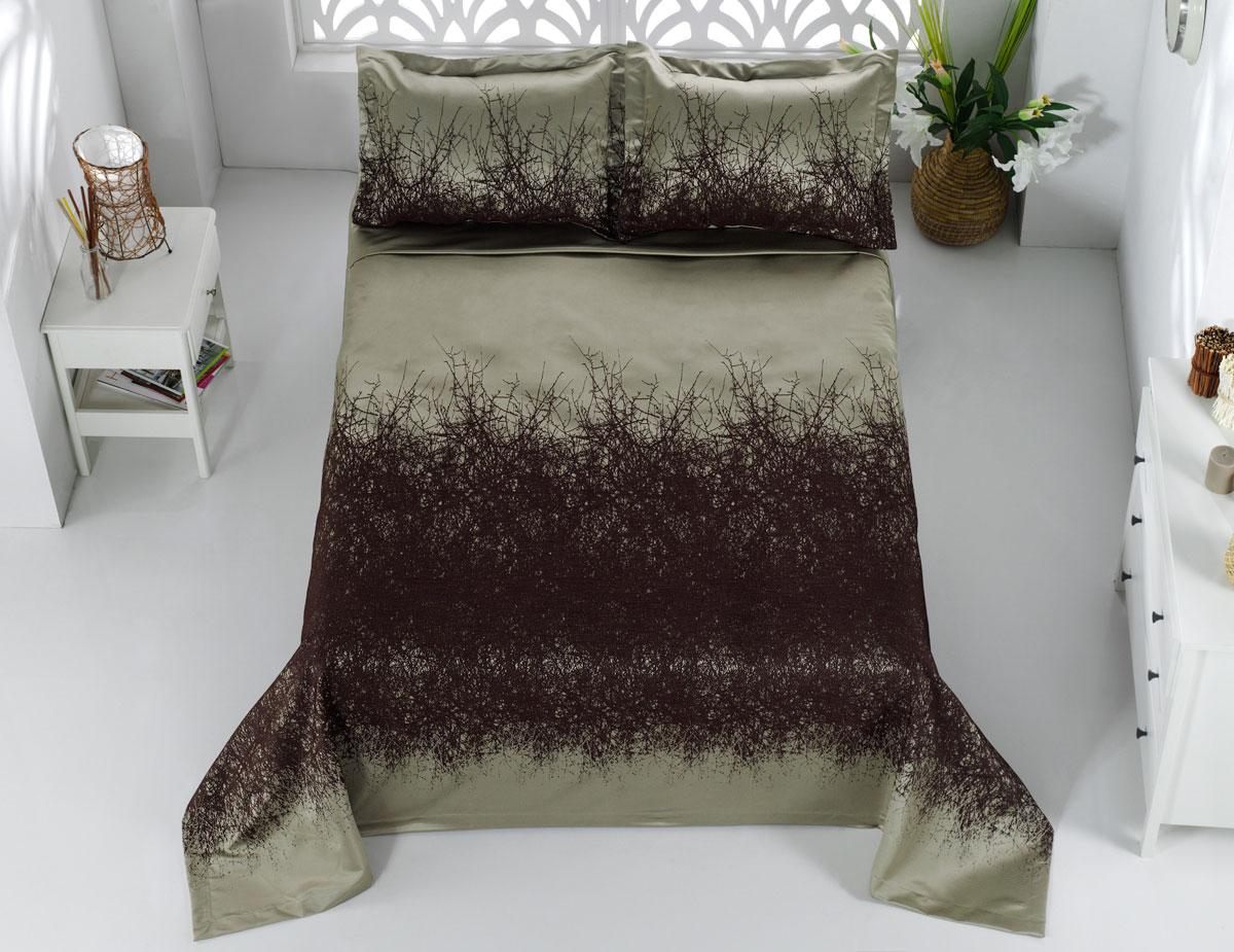 """Комплект для спальни Karna """"Florina"""", жаккард, покрывало 260 х 260 см, 2 наволочки 60 х 80 см, цвет: коричневый, 3 предмета"""