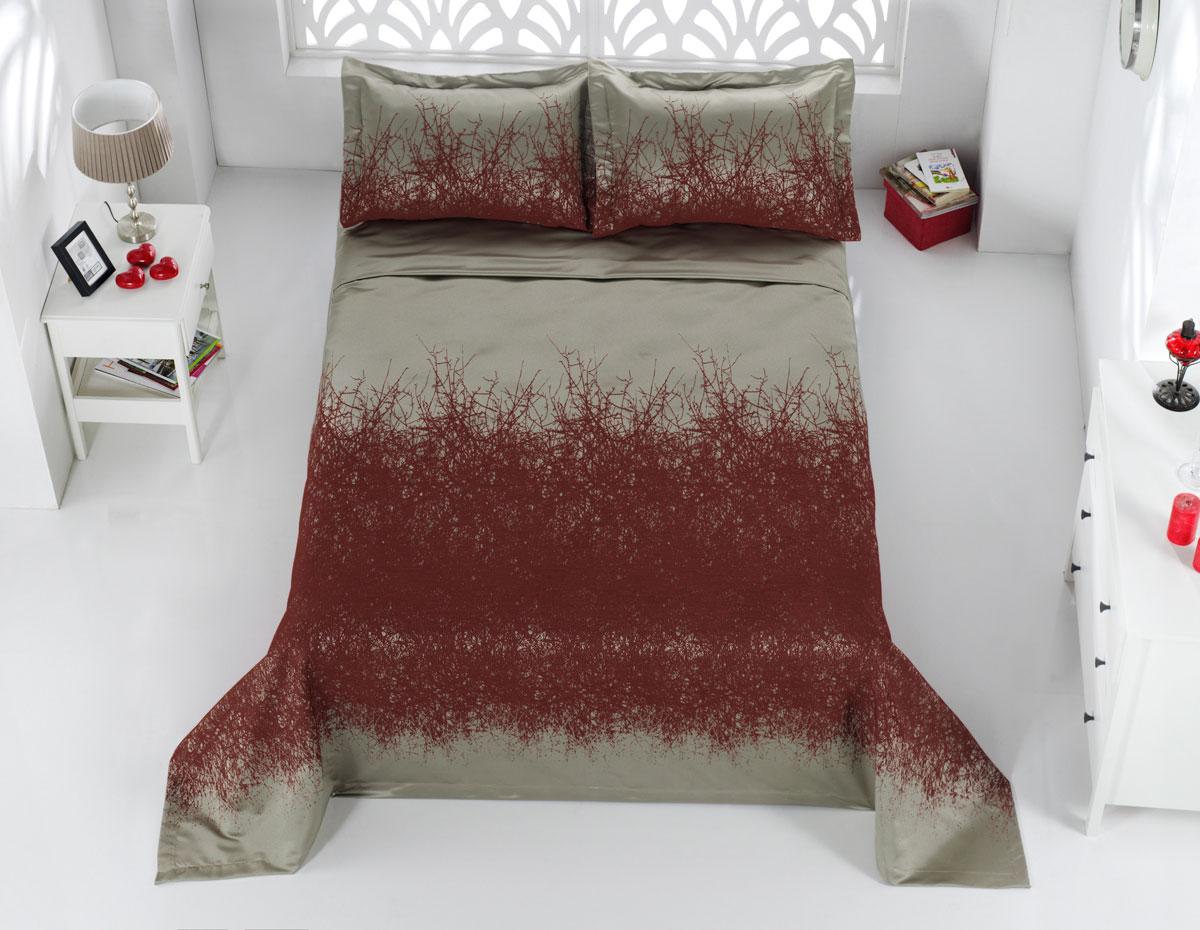 """Комплект для спальни Karna """"Florina"""", жаккард, покрывало 260 х 260 см, 2 наволочки 60 х 80 см, цвет: оранжевый, 3 предмета"""