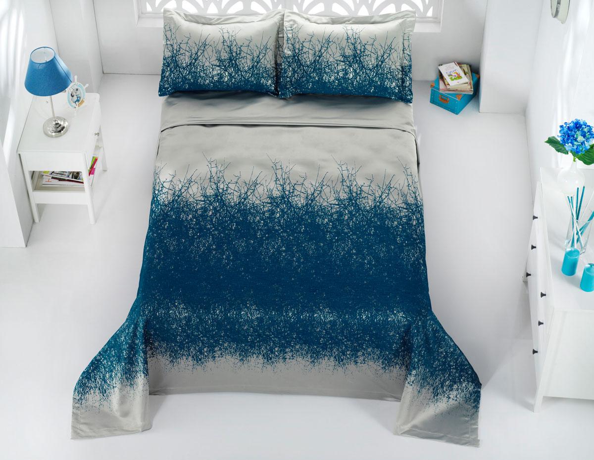 """Комплект для спальни Karna """"Florina"""", жаккард, покрывало 260 х 260 см, 2 наволочки 60 х 80 см, цвет: синий, 3 предмета"""