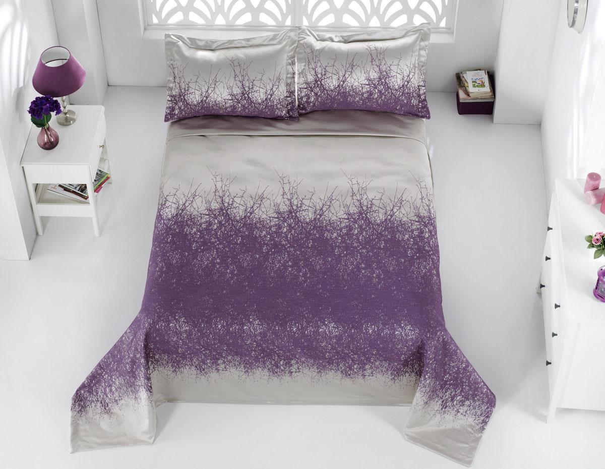 """Комплект для спальни Karna """"Florina"""", жаккард, покрывало 260 х 260 см, 2 наволочки 60 х 80 см, цвет: сиреневый, 3 предмета"""