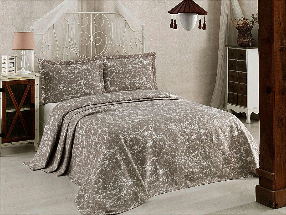 """Комплект для спальни Karna """"Vartien"""", жаккард, покрывало 240 х 260 см, 2 наволочки 50 х 70 см, цвет: капучино, 3 предмета"""