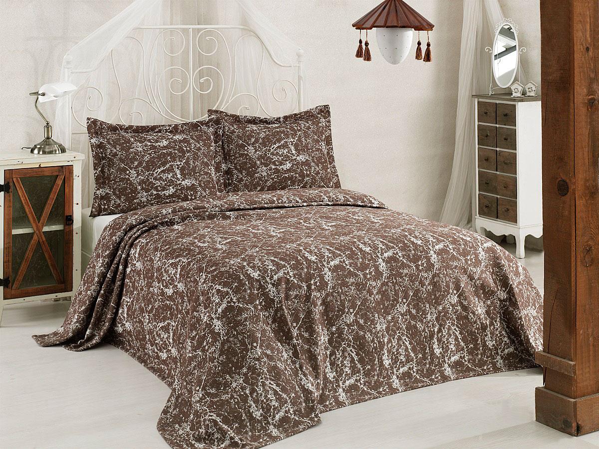 """Комплект для спальни Karna """"Vartien"""", жаккард, покрывало 240 х 260 см, 2 наволочки 50 х 70 см, цвет: коричневый, 3 предмета"""