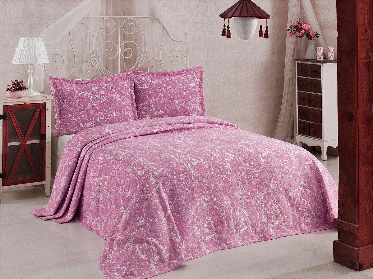 "Комплект для спальни Karna ""Vartien"", жаккард, покрывало 240 х 260 см, 2 наволочки 50 х 70 см, цвет: пудра, 3 предмета"
