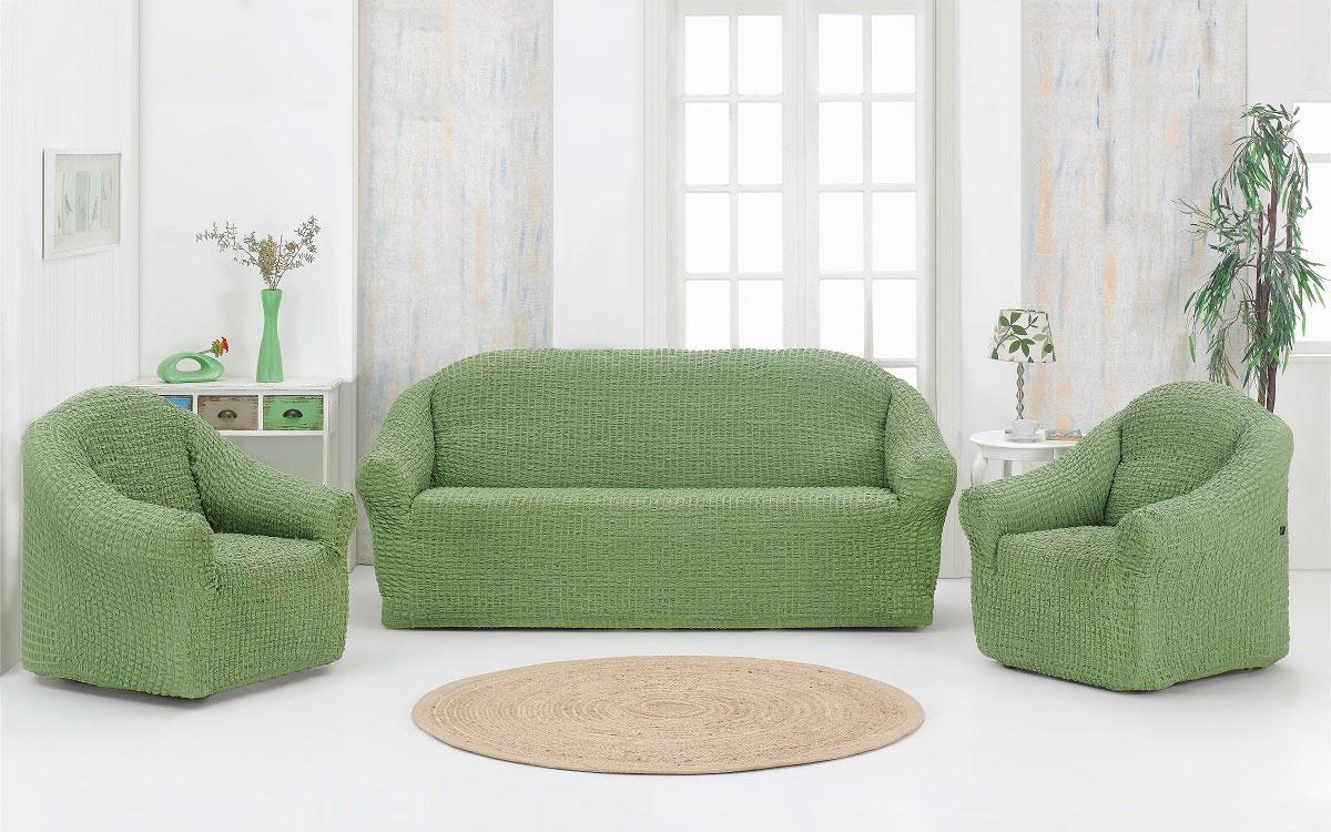 Набор чехлов дла дивана и кресел Karna, без юбки, цвет: зеленый, 3 предмета велопарковка на 3 места 700х300х255мм